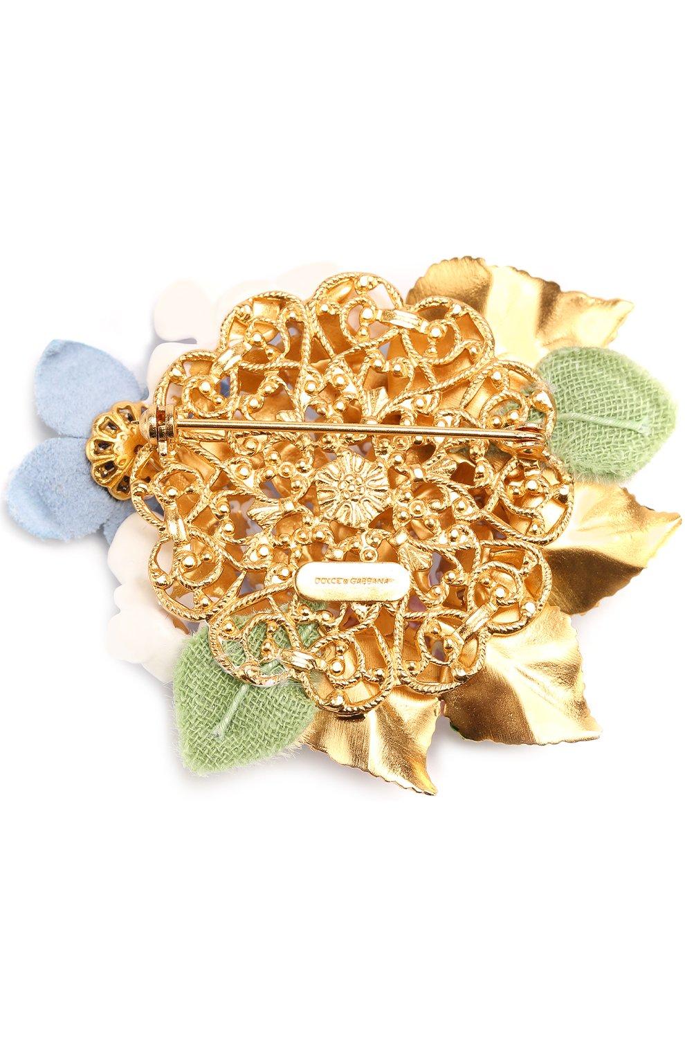 Брошь с цветочным декором и кристаллами Swarovski Dolce & Gabbana золотая | Фото №2