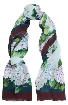 Шелковый шарф с цветочным принтом Dolce & Gabbana сиреневый   Фото №1