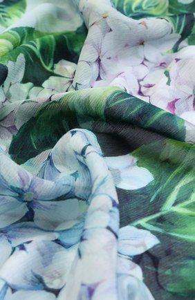 Шелковый шарф с цветочным принтом Dolce & Gabbana сиреневый   Фото №2