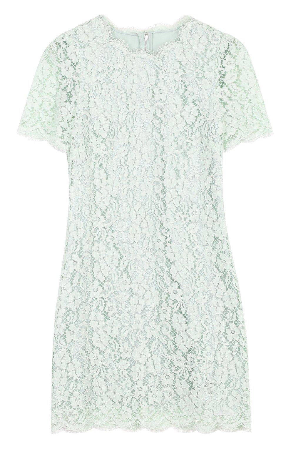 Кружевное мини-платье с коротким рукавом | Фото №1