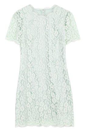 Кружевное мини-платье с коротким рукавом Dolce & Gabbana светло-зеленое | Фото №1