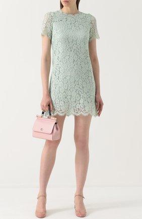 Кружевное мини-платье с коротким рукавом Dolce & Gabbana светло-зеленое | Фото №2