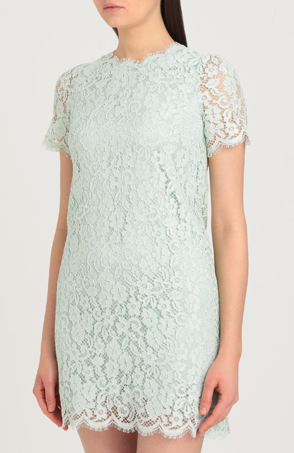 Кружевное мини-платье с коротким рукавом Dolce & Gabbana светло-зеленое | Фото №3