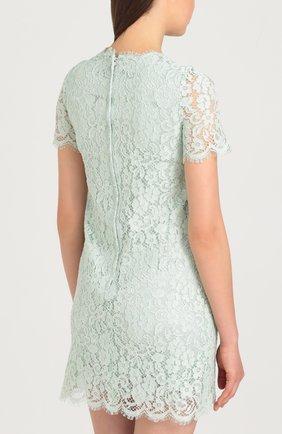 Кружевное мини-платье с коротким рукавом Dolce & Gabbana светло-зеленое | Фото №4