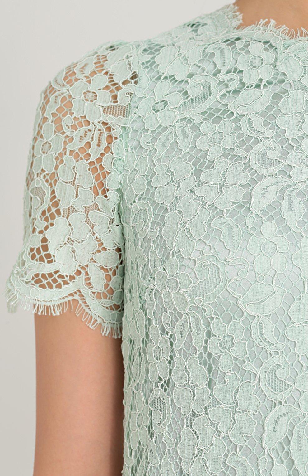 Кружевное мини-платье с коротким рукавом Dolce & Gabbana светло-зеленое | Фото №5