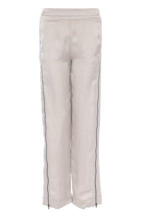 Брюки прямого кроя с декоративными молниями Ilaria Nistri светло-серые | Фото №1