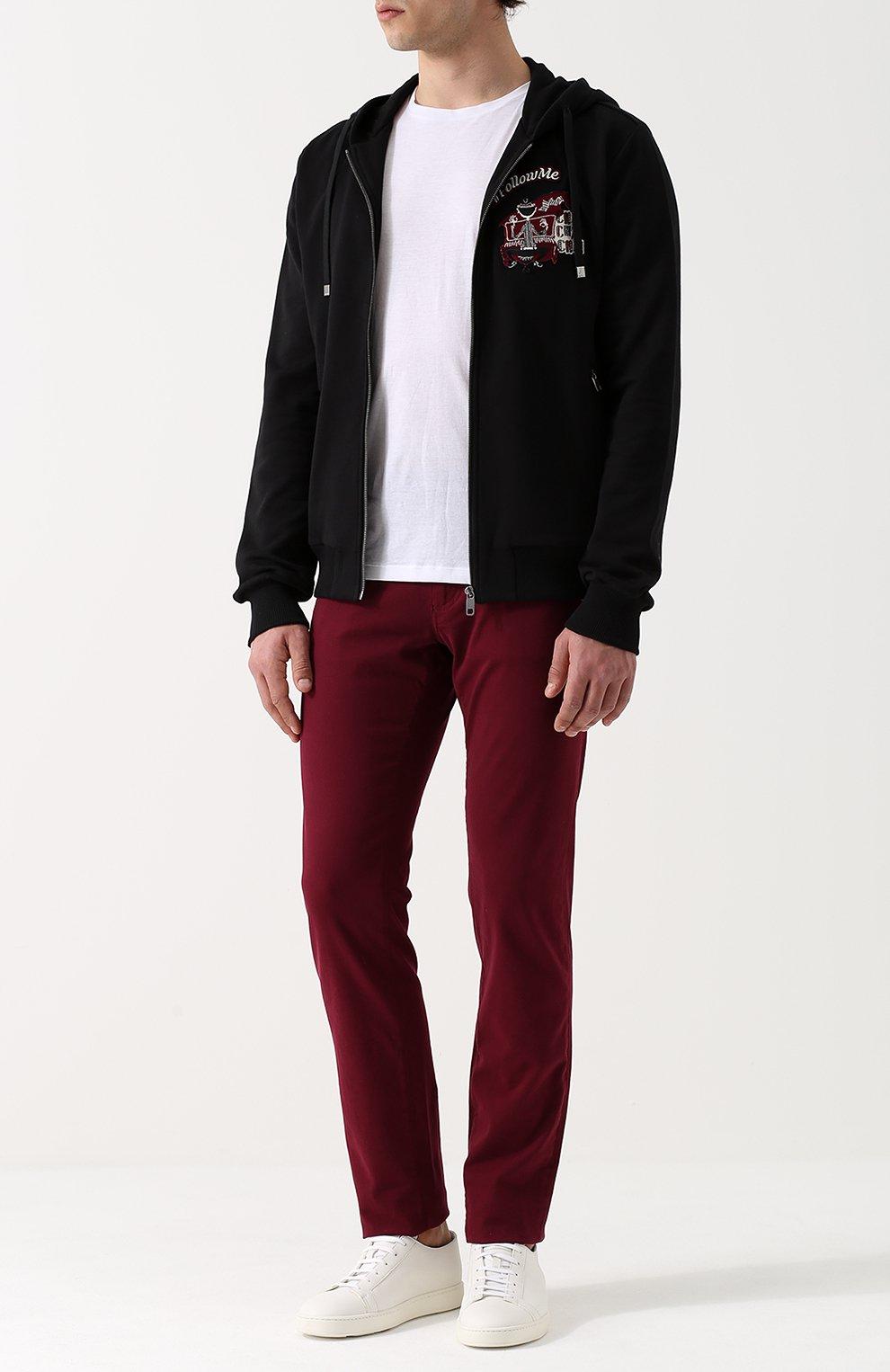 Хлопковая толстовка на молнии с капюшоном Dolce & Gabbana черный | Фото №2