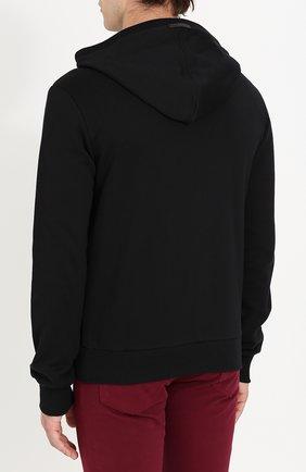Хлопковая толстовка на молнии с капюшоном Dolce & Gabbana черный | Фото №4