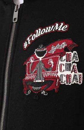 Хлопковая толстовка на молнии с капюшоном Dolce & Gabbana черный | Фото №5