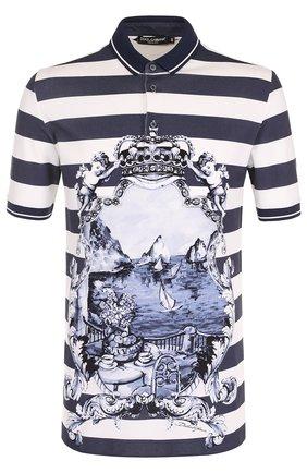 Хлопковое поло в полоску с принтом Dolce & Gabbana голубое | Фото №1