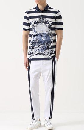 Хлопковое поло в полоску с принтом Dolce & Gabbana голубое | Фото №2