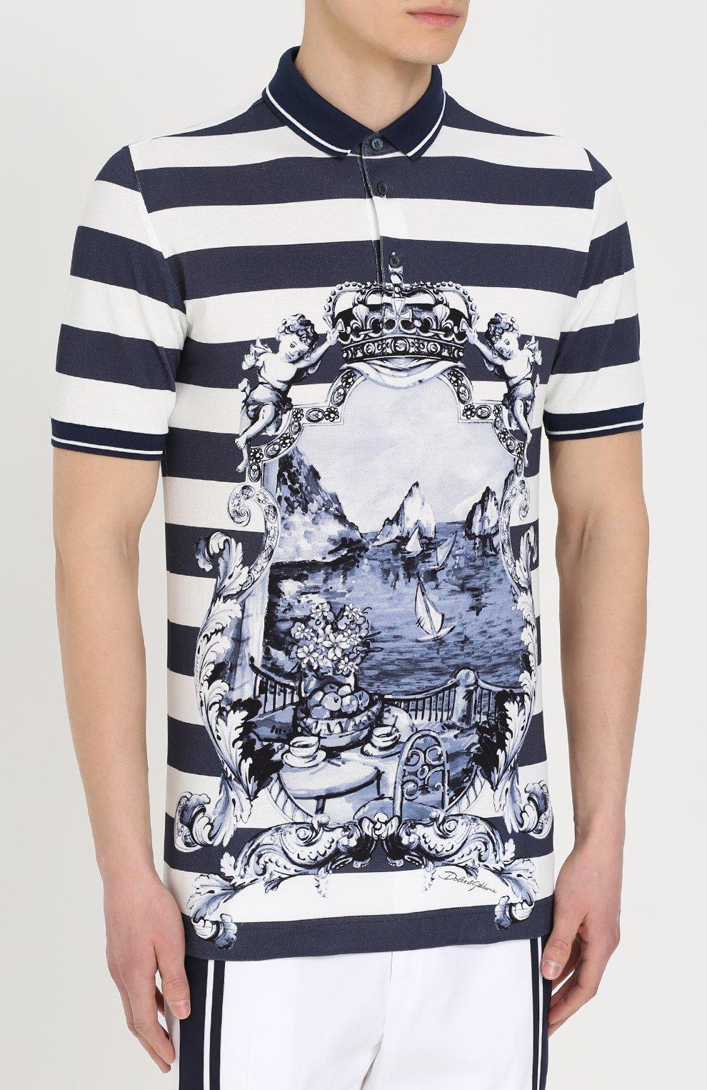 Хлопковое поло в полоску с принтом Dolce & Gabbana голубое | Фото №3