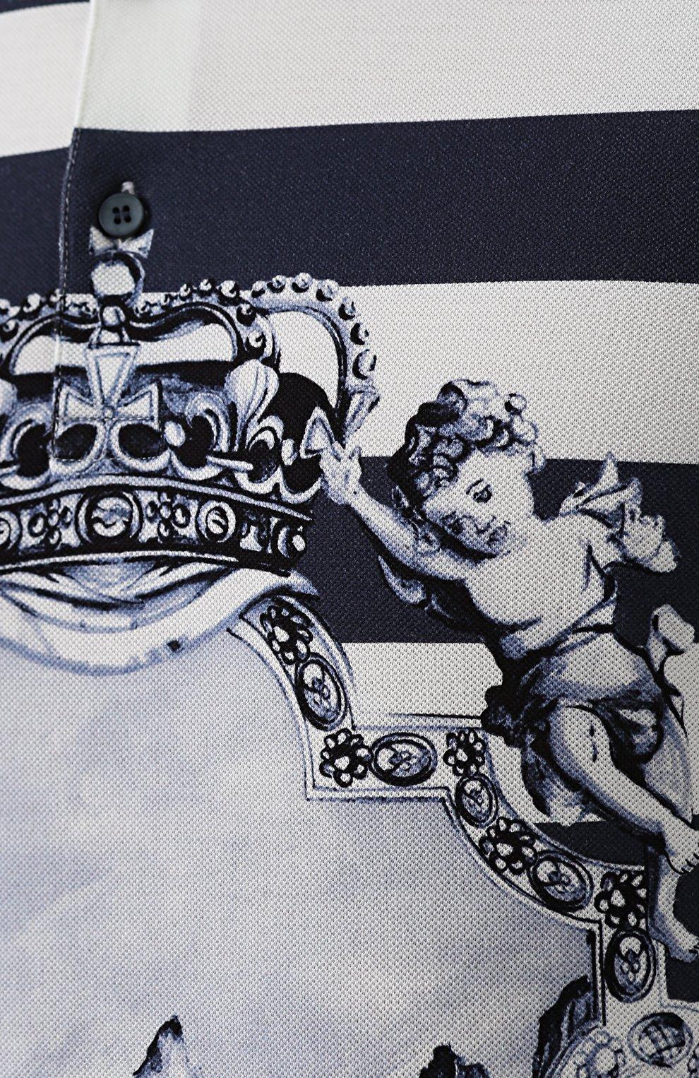 Хлопковое поло в полоску с принтом Dolce & Gabbana голубое | Фото №5
