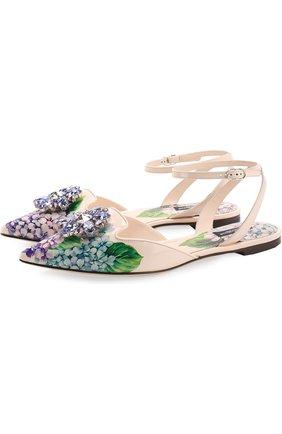 Кожаные балетки с цветочным принтом и брошью Dolce & Gabbana разноцветные | Фото №1