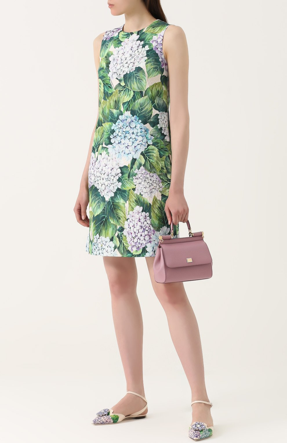 Кожаные балетки с цветочным принтом и брошью Dolce & Gabbana разноцветные | Фото №2