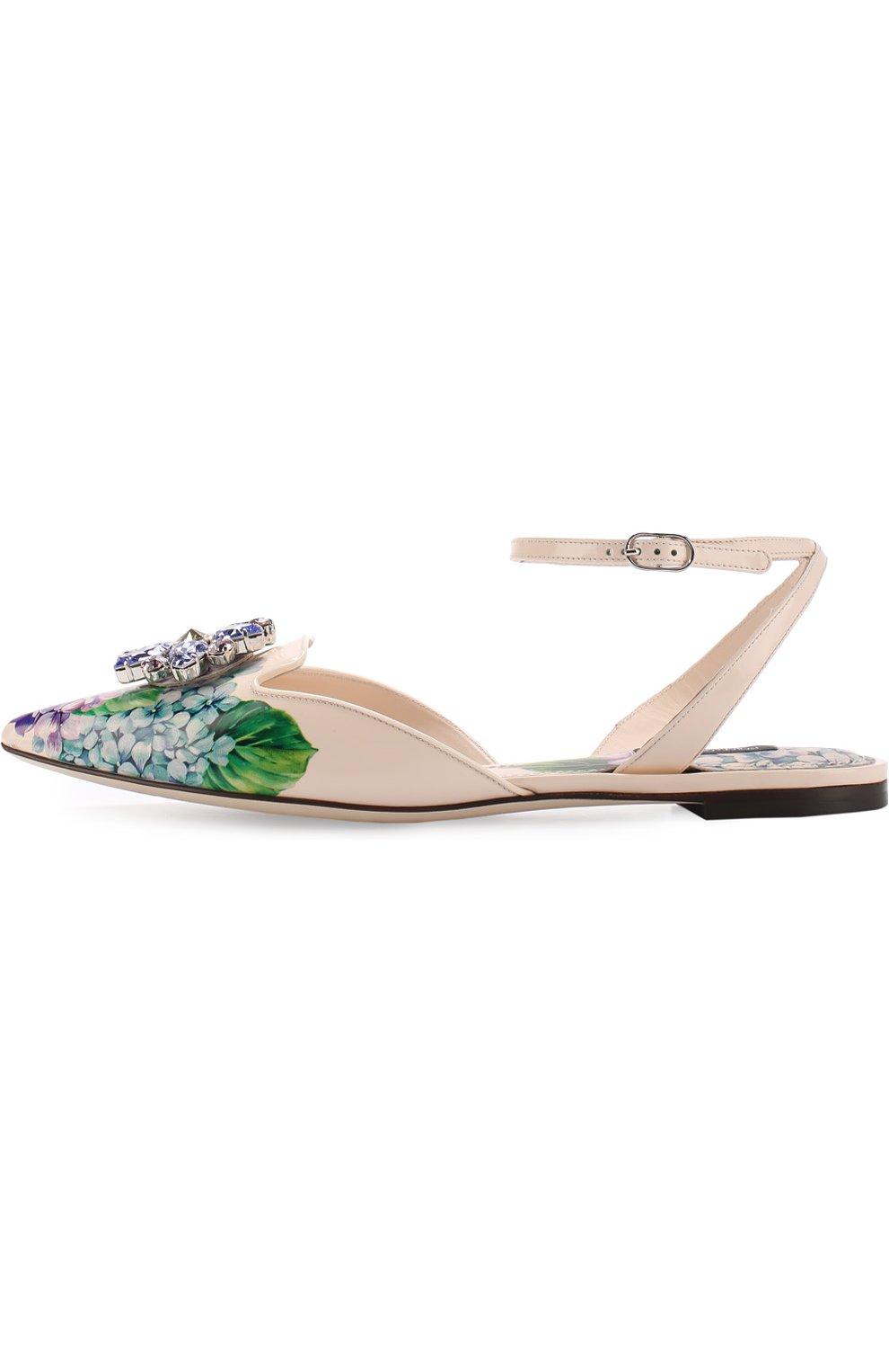 Кожаные балетки с цветочным принтом и брошью Dolce & Gabbana разноцветные | Фото №3