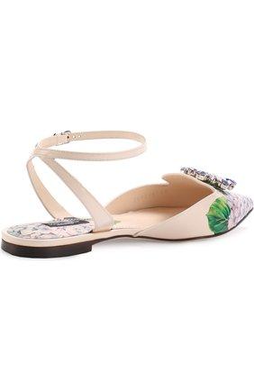 Кожаные балетки с цветочным принтом и брошью Dolce & Gabbana разноцветные | Фото №4