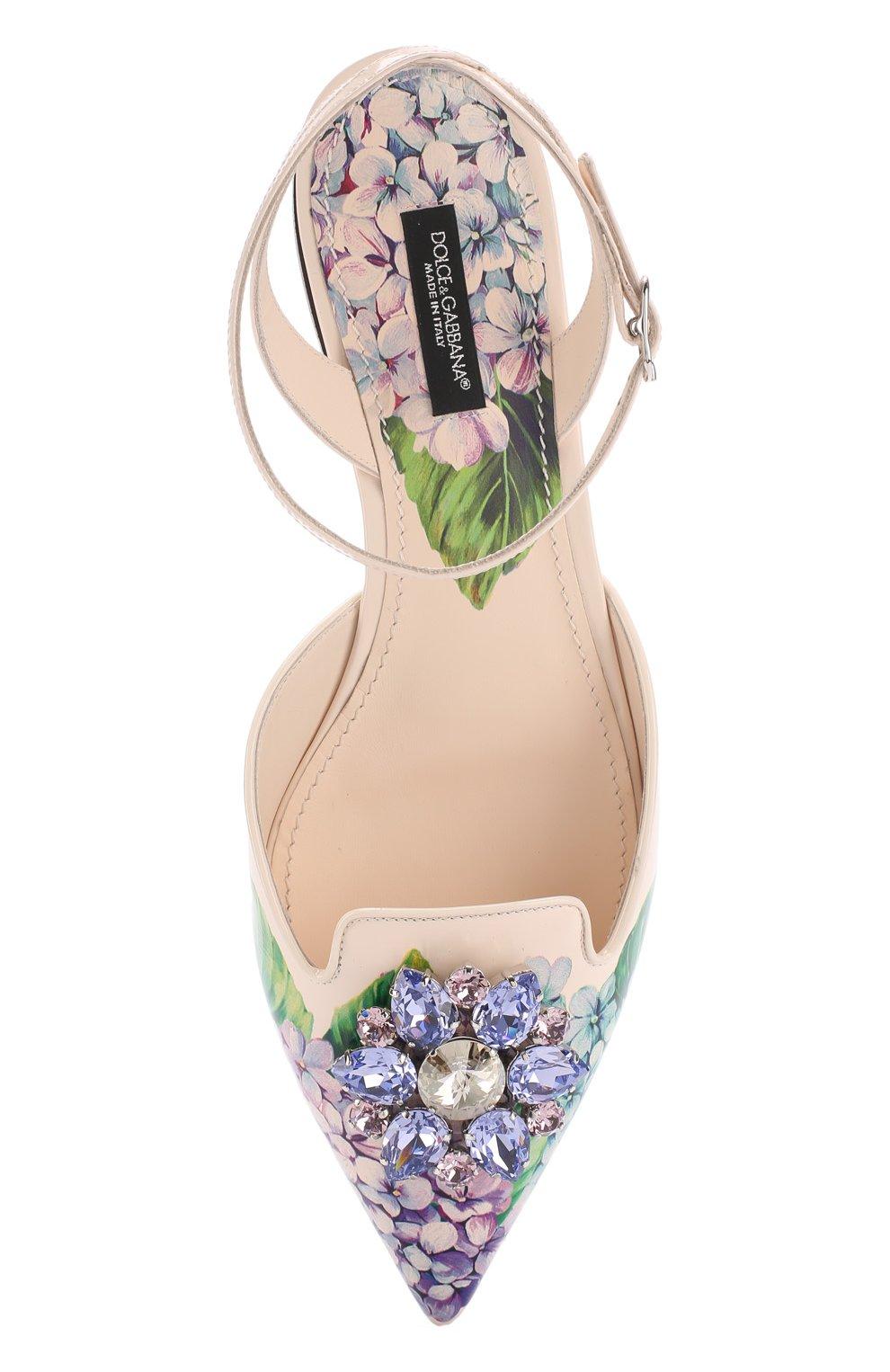 Кожаные балетки с цветочным принтом и брошью Dolce & Gabbana разноцветные | Фото №5