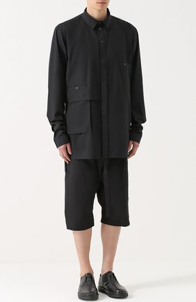 Удлиненная хлопковая рубашка свободного кроя Barbara I Gongini черная | Фото №1