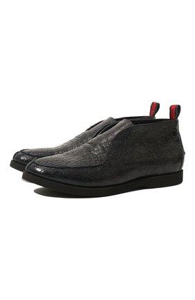 Мужские ботинки из кожи каймана без шнуровки KITON темно-синего цвета, арт. USSFLY/N00118 | Фото 1