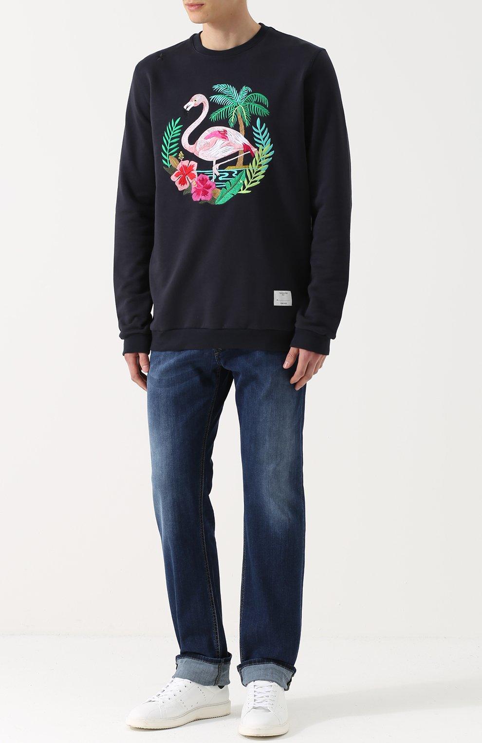 Хлопковый свитшот с контрастной вышивкой | Фото №2