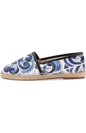 Хлопковые эспадрильи с отделкой из натуральной кожи на джутовой подошве Dolce & Gabbana синие | Фото №3