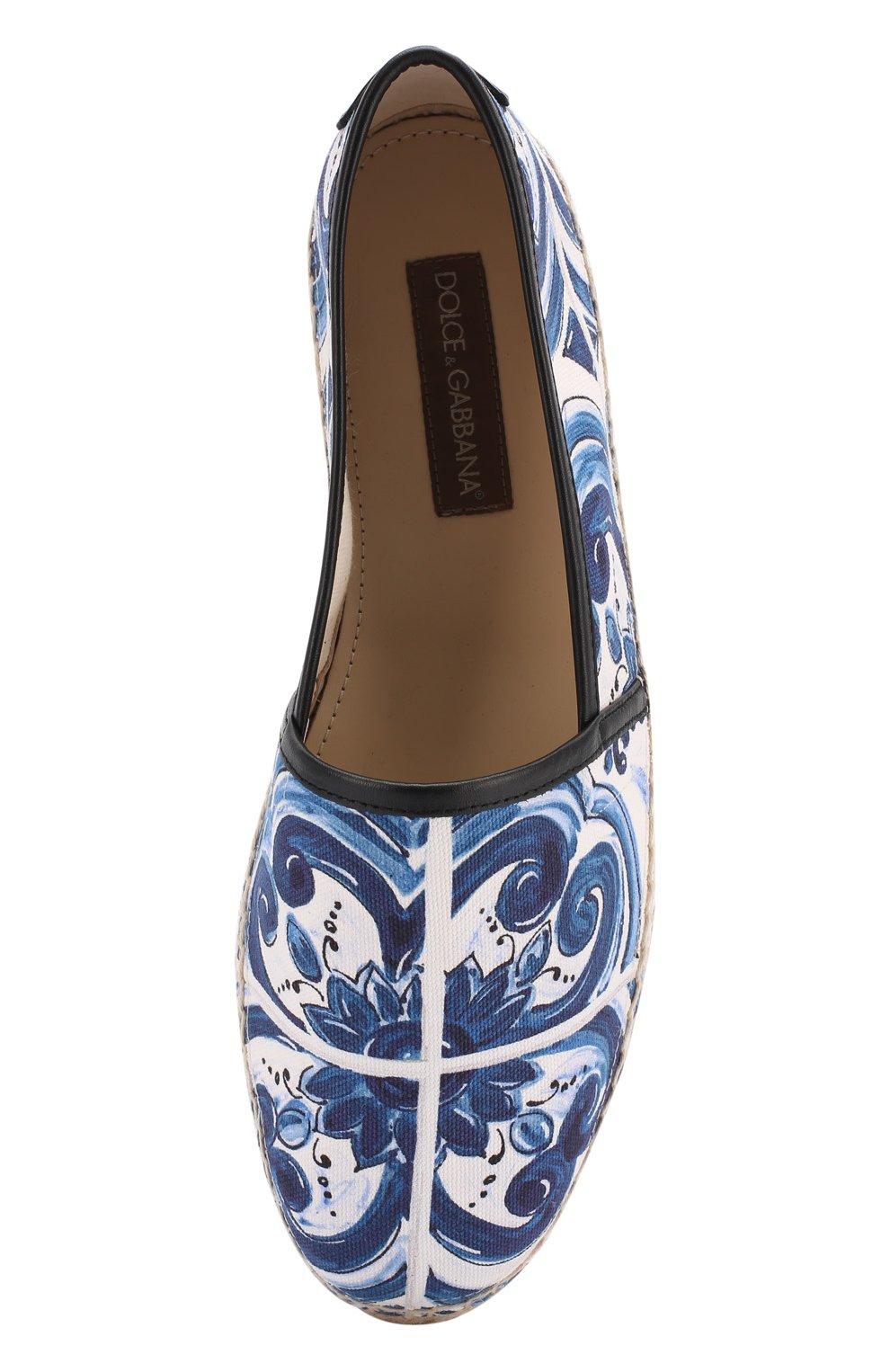 Хлопковые эспадрильи с отделкой из натуральной кожи на джутовой подошве Dolce & Gabbana синие | Фото №5