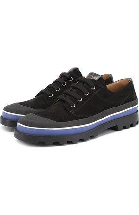 Замшевые ботинки Valentino Garavani на шнуровке с контрастной отделкой