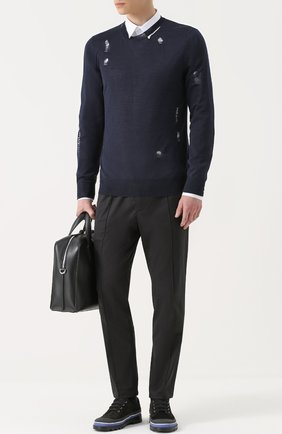 Джемпер из смеси шерсти и шелка с декоративными потертостями   Фото №2