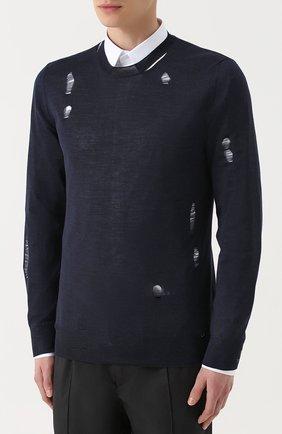 Джемпер из смеси шерсти и шелка с декоративными потертостями   Фото №3