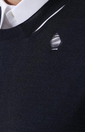 Джемпер из смеси шерсти и шелка с декоративными потертостями   Фото №5