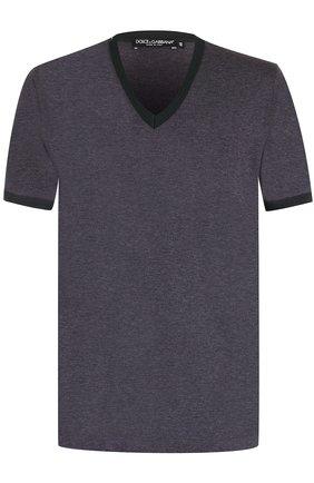 Хлопковая футболка с V-образным вырезом Dolce & Gabbana серая | Фото №1