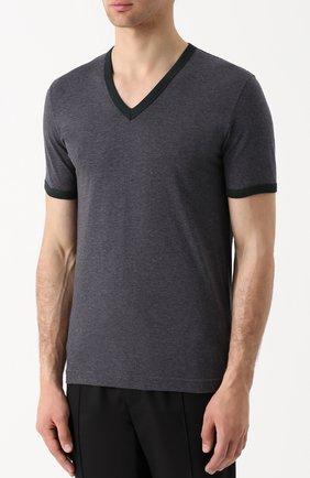 Хлопковая футболка с V-образным вырезом Dolce & Gabbana серая | Фото №3
