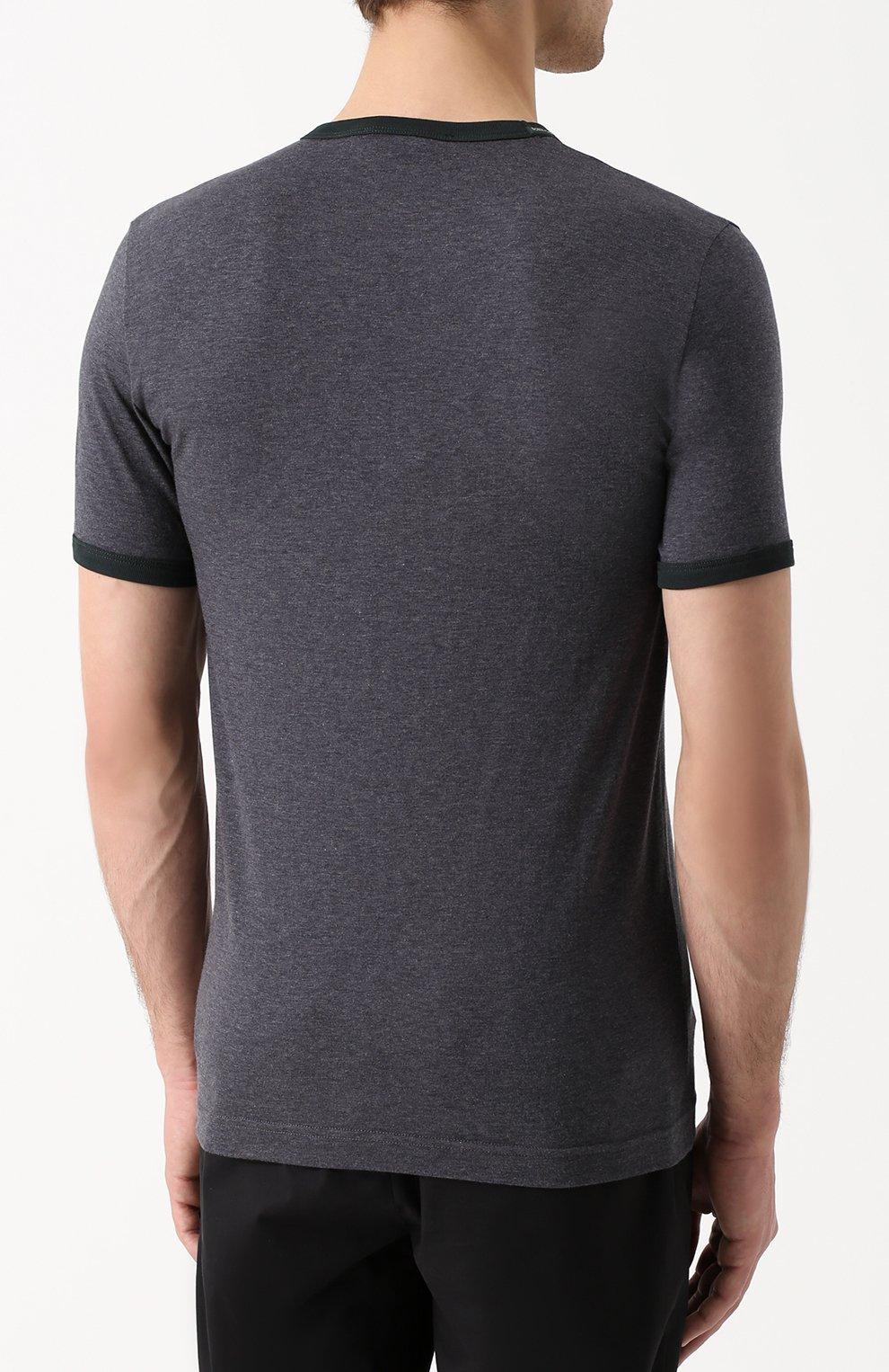 Хлопковая футболка с V-образным вырезом Dolce & Gabbana серая | Фото №4