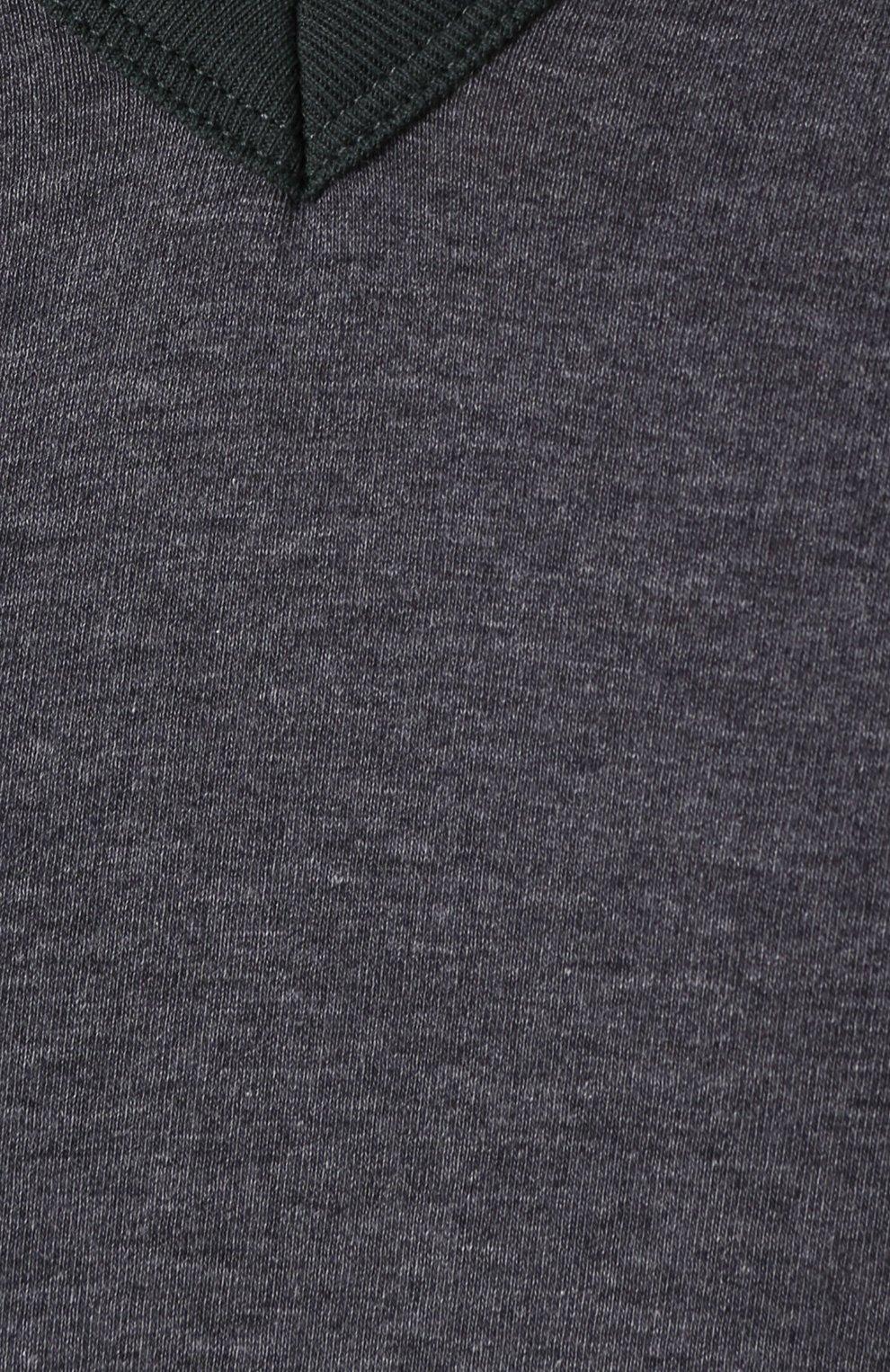 Хлопковая футболка с V-образным вырезом Dolce & Gabbana серая | Фото №5