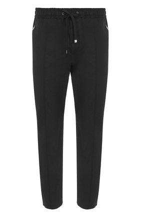 Хлопковые брюки прямого кроя с поясом на резинке