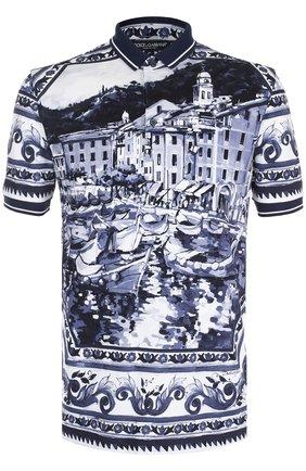 Хлопковое поло с принтом Dolce & Gabbana синее | Фото №1