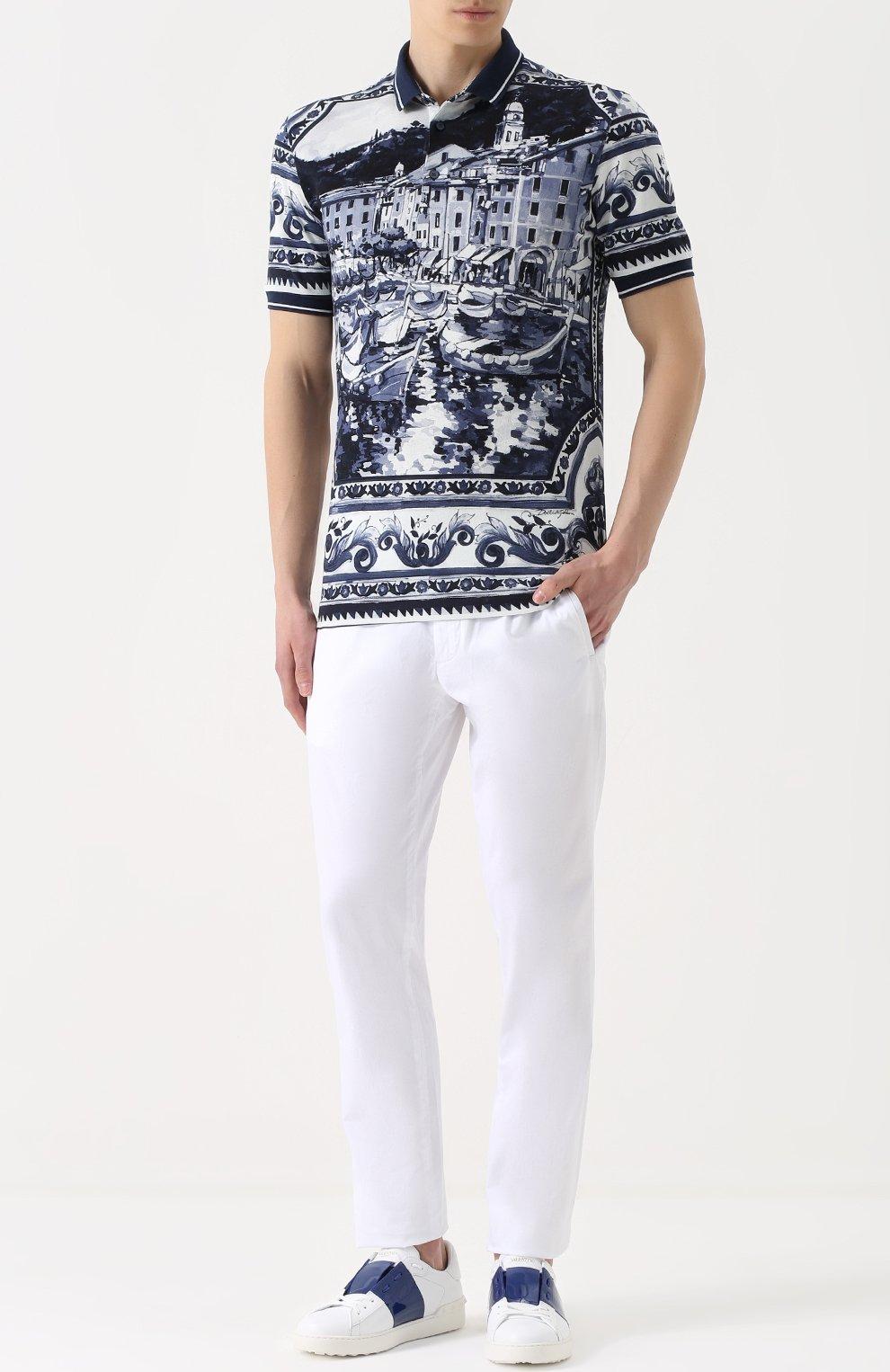 Хлопковое поло с принтом Dolce & Gabbana синее | Фото №2