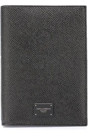 Кожаная обложка для паспорта Dolce & Gabbana черного цвета   Фото №1