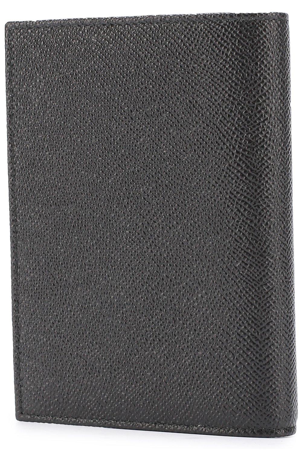 Кожаная обложка для паспорта Dolce & Gabbana черного цвета   Фото №2