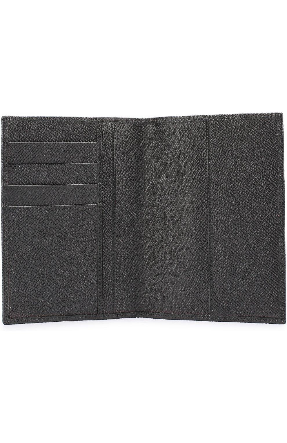 Кожаная обложка для паспорта Dolce & Gabbana черного цвета   Фото №3