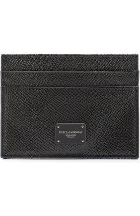 Кожаный футляр для кредитных карт Dolce & Gabbana черного цвета   Фото №1