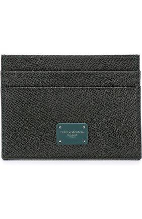 Кожаный футляр для кредитных карт Dolce & Gabbana темно-зеленого цвета | Фото №1
