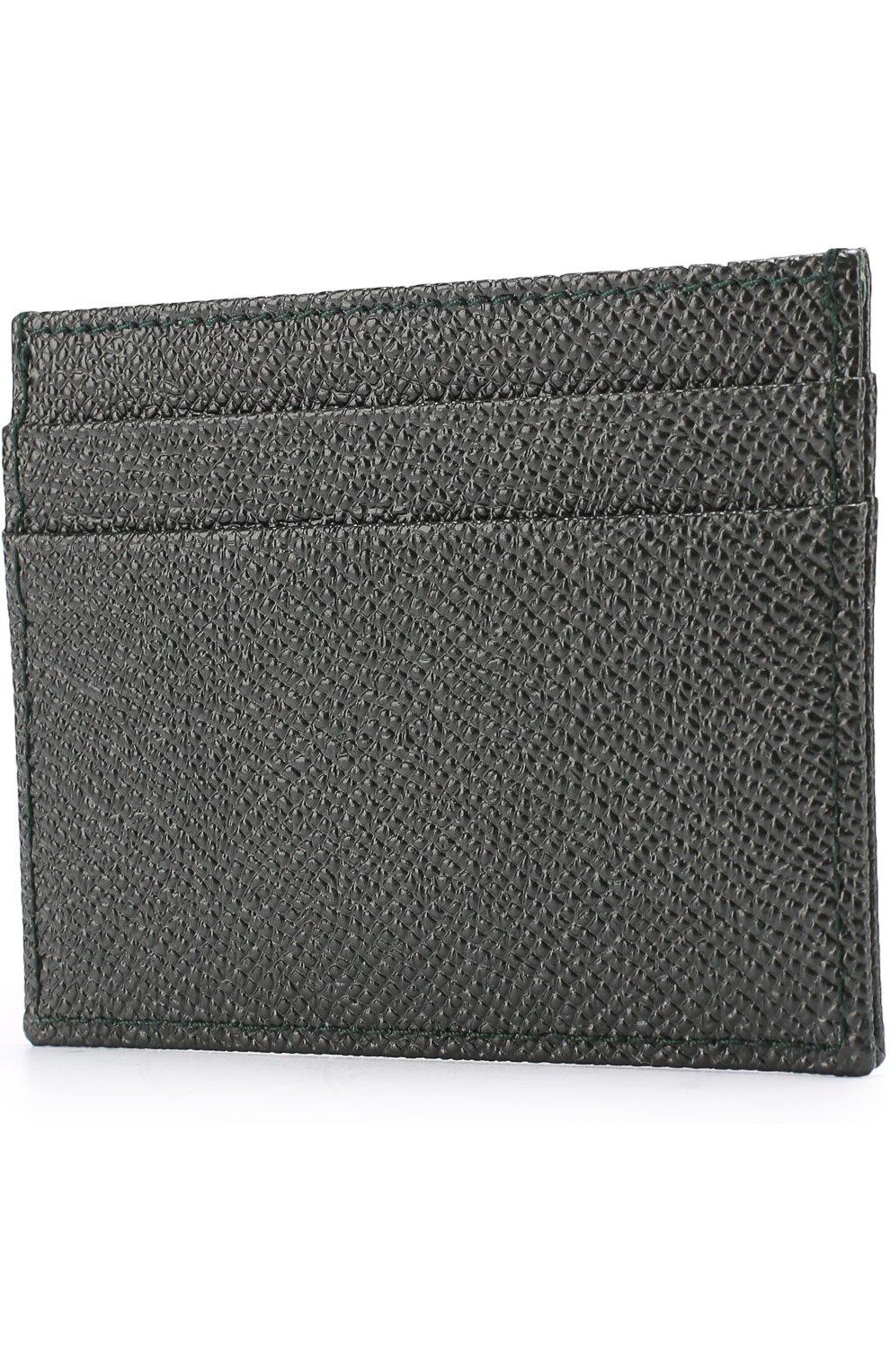Кожаный футляр для кредитных карт Dolce & Gabbana темно-зеленого цвета | Фото №2