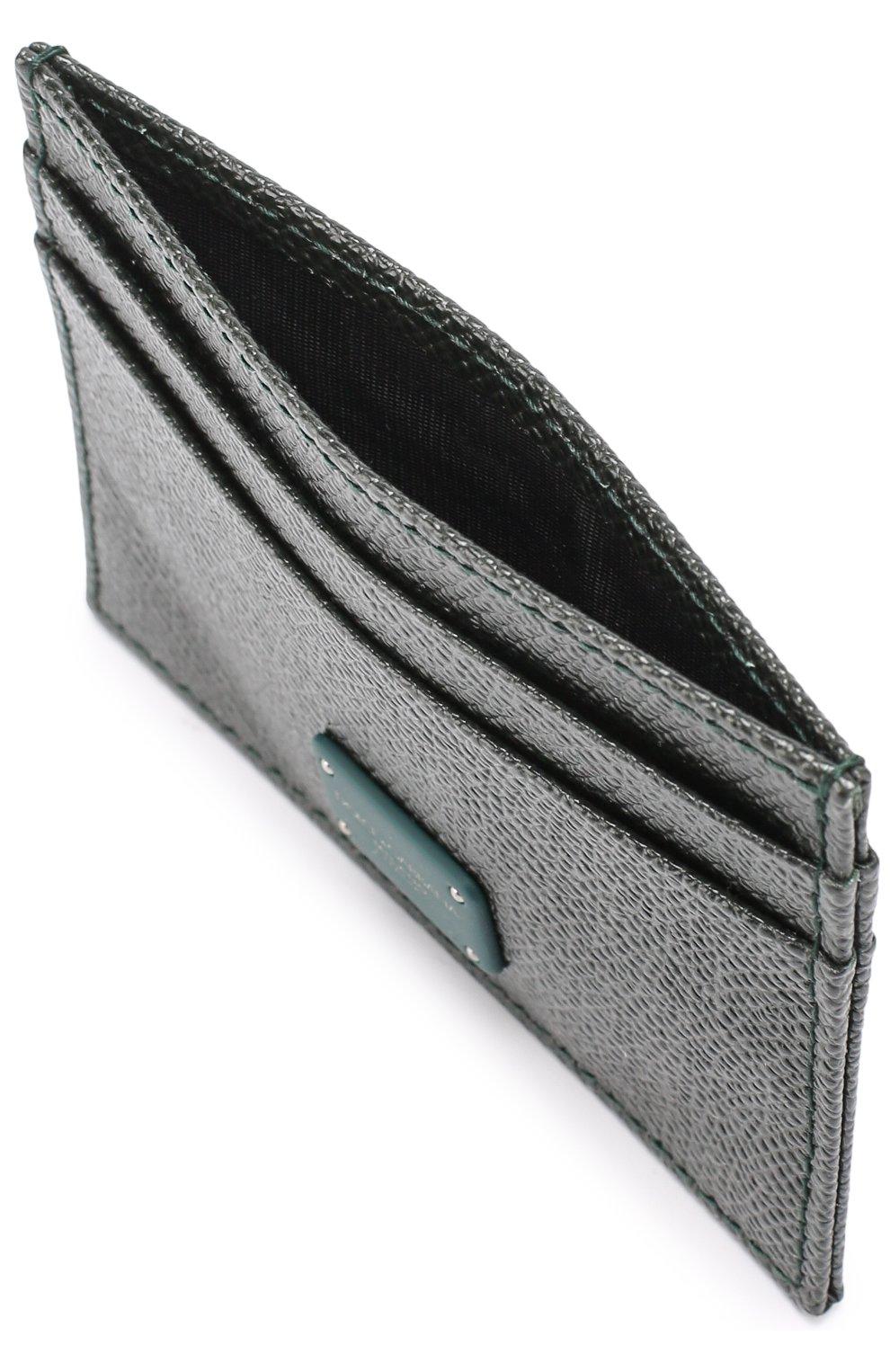 Кожаный футляр для кредитных карт Dolce & Gabbana темно-зеленого цвета | Фото №3