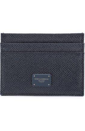 Кожаный футляр для кредитных карт Dolce & Gabbana темно-синего цвета | Фото №1