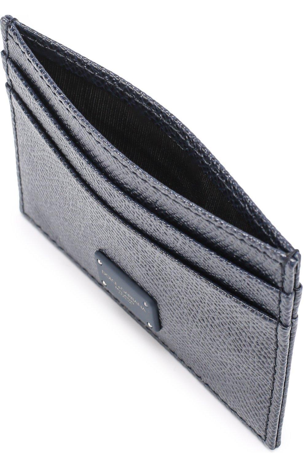 Кожаный футляр для кредитных карт Dolce & Gabbana темно-синего цвета | Фото №3