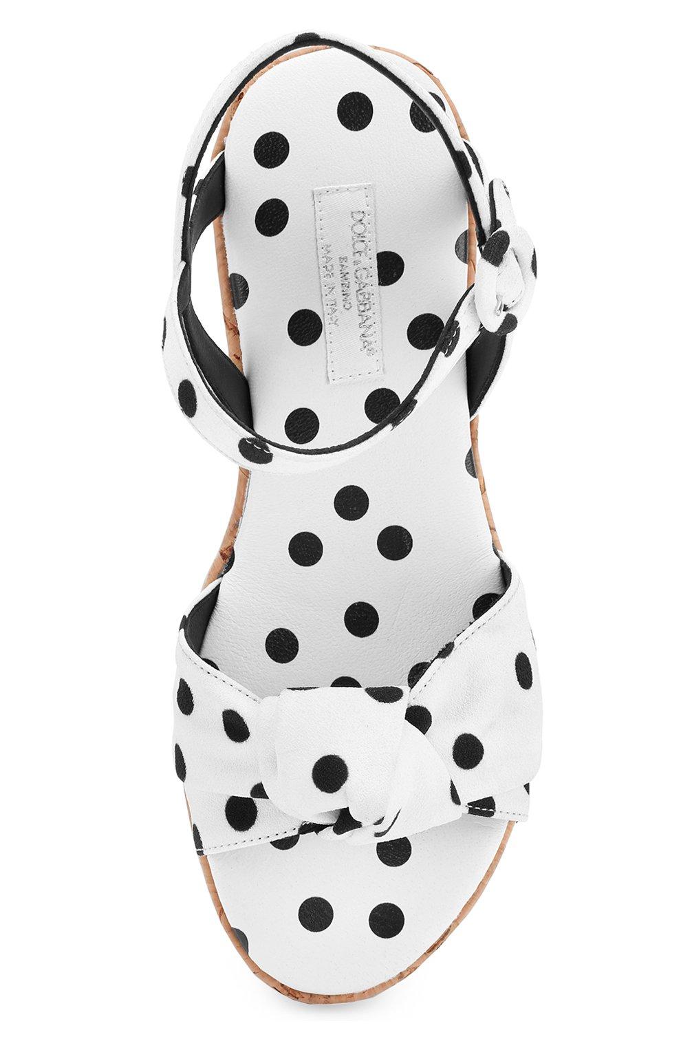 Детские босоножки из текстиля с принтом на танкетке Dolce & Gabbana черно-белого цвета | Фото №4