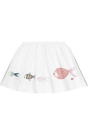 Хлопковая мини-юбка с вышивкой и контрастной прострочкой | Фото №1