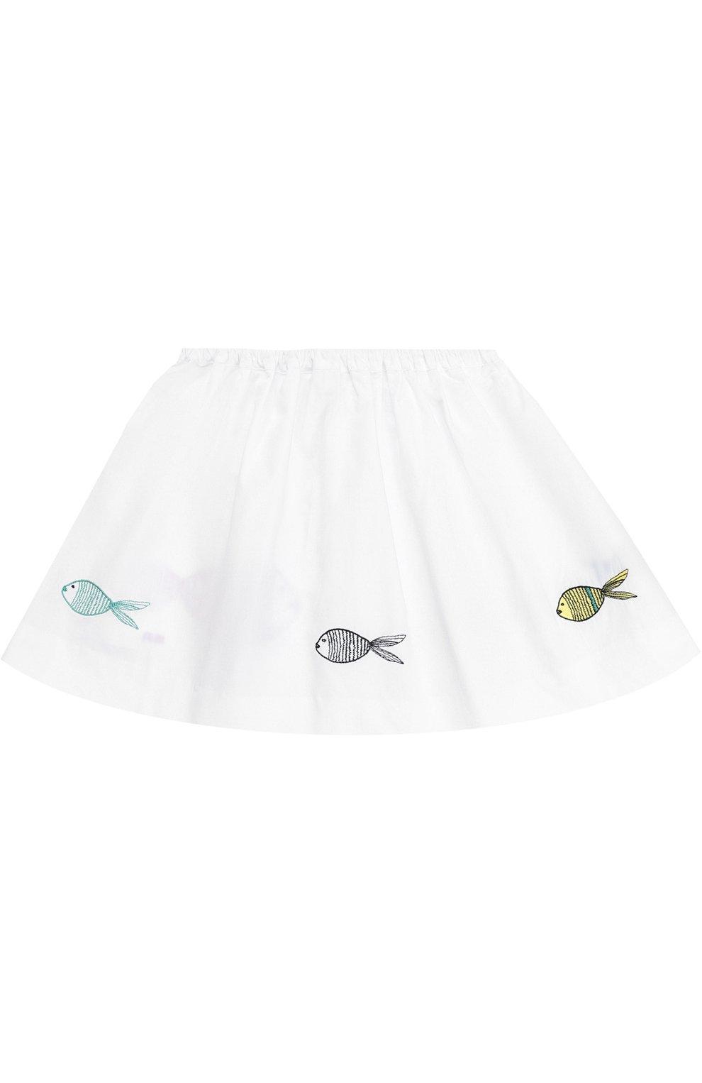 Хлопковая мини-юбка с вышивкой и контрастной прострочкой | Фото №2